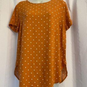 LC Lauren Conrad Orange Polka Dots Blouse S